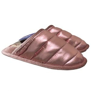 "Dearfoams Metallic Pink Slippers ""Puffer Scuff"""